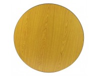 "24"" Round Reversible Table Top, Golden Oak and Walnut"